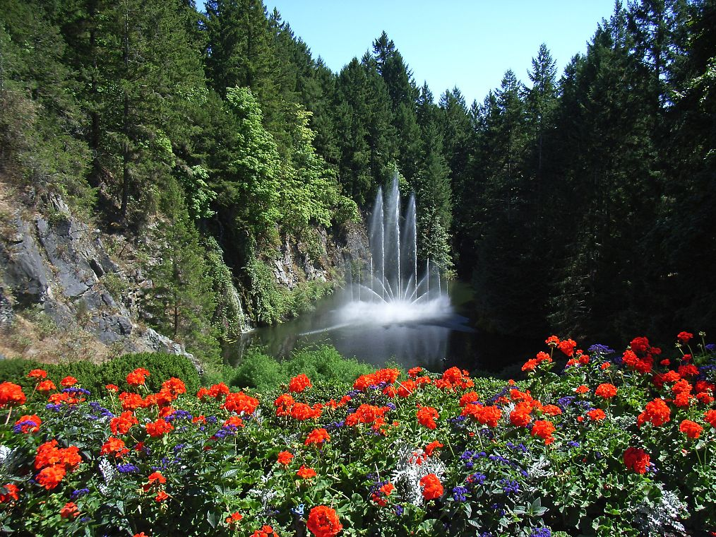 Canada Butchart Gardens In Victoria With Colorful Flowers